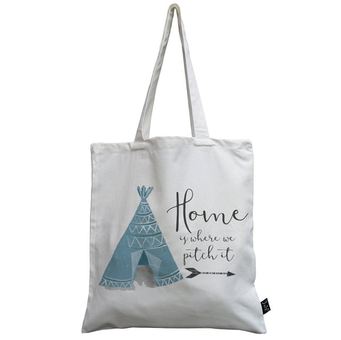 Home is where we pitch it canvas bag