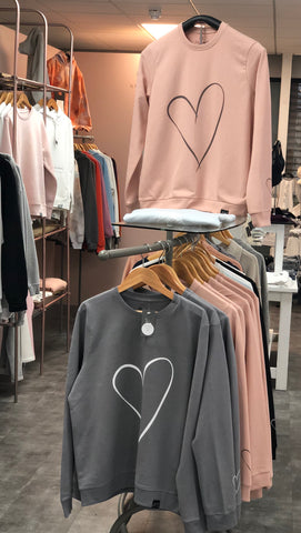 Line Heart Oversized Cotton Mix Sweatshirt