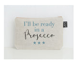 Ready in a Prosecco small make up bag