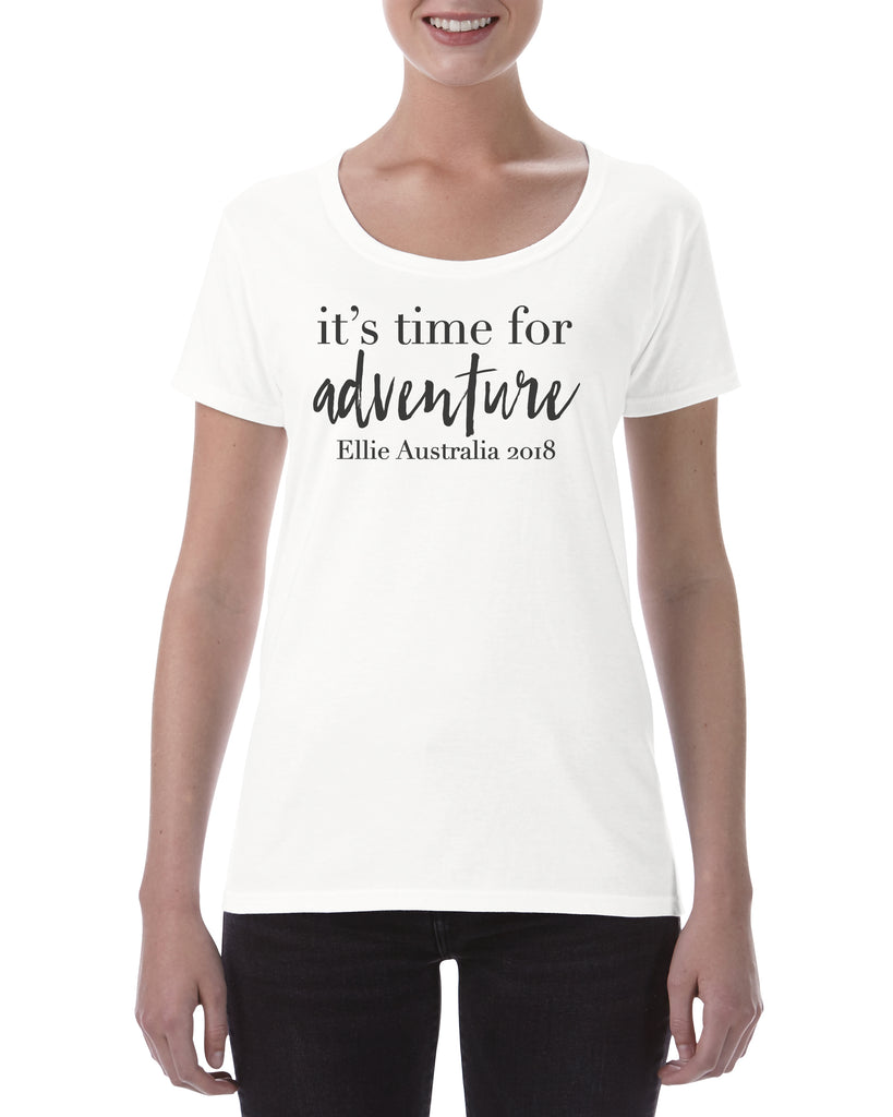 Personalied Cotton T Shirt It's time for adventure