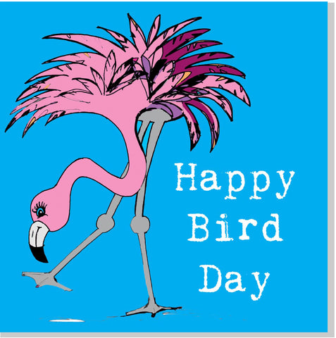 Flamingo Happy Bird Day square card