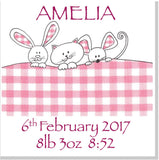 Personalised Pink Gingham Bunnies square card