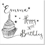 Personalised Cupcake Happy Birthday square card