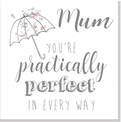 Umbrella Floral practically perfect floral Mum square card