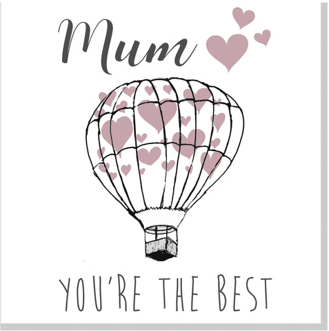 Pretty Balloon Hearts Mum square card