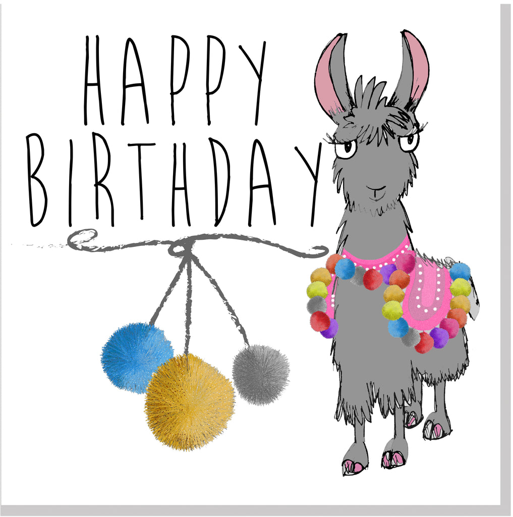 Happy Birthday Llama bright pom poms square card