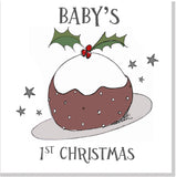 Babys 1st Christmas Pudding square card