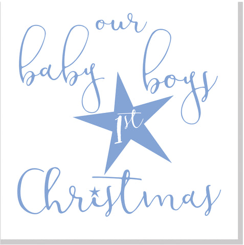 Our Baby boys 1st Christmas square card blue
