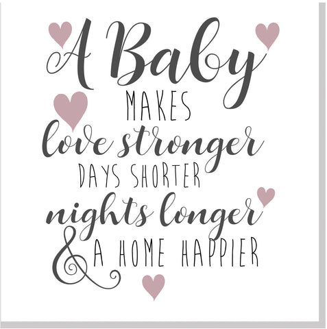 Baby happier home pink heart square card