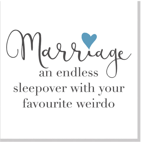 Marriage sleepover heart square card