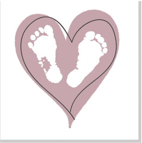 Baby feet heart square card