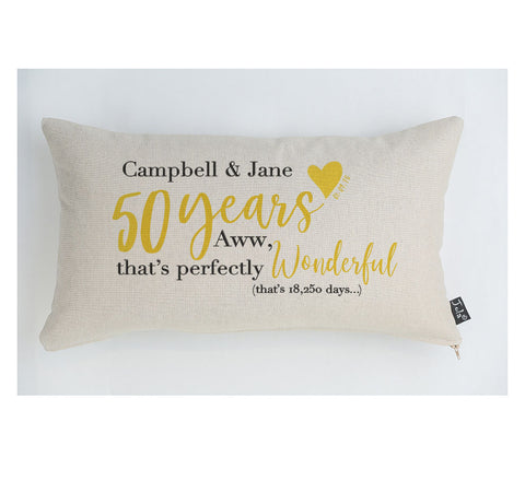 Personalised Golden Anniversary cushion