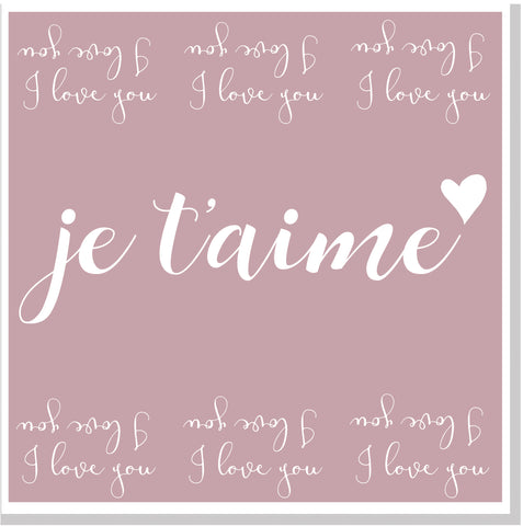 Je t'aims blush square card