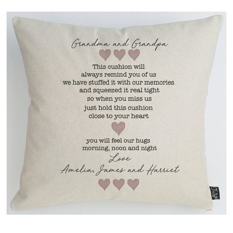 Personalised Hugs cushion