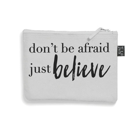 Brushed cotton Just Believe make up bag