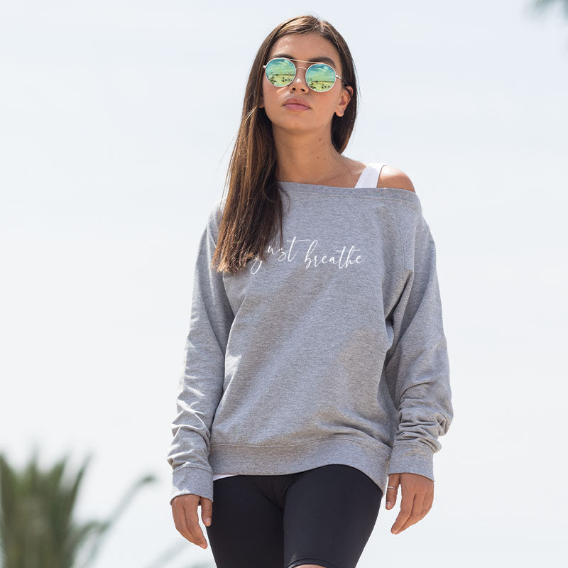 Oversized Off The Shoulder Sweatshirt Just Breathe