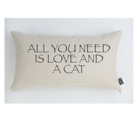 All you need is Love and a Cat large boudoir cushion