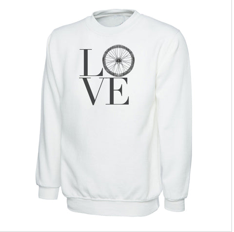 Cotton Sweatshirt Love Bike Wheel