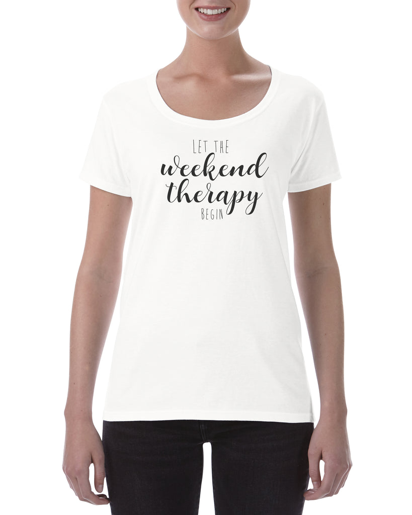 Cotton T Shirt Let the weekend therapy begin