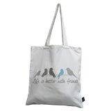 Life is better with friends canvas bag blue