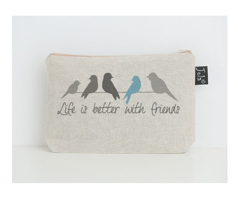 Life is better with friends small make up bag blue