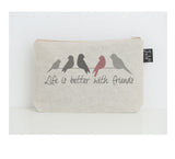 Life is better with friends small make up bag pink