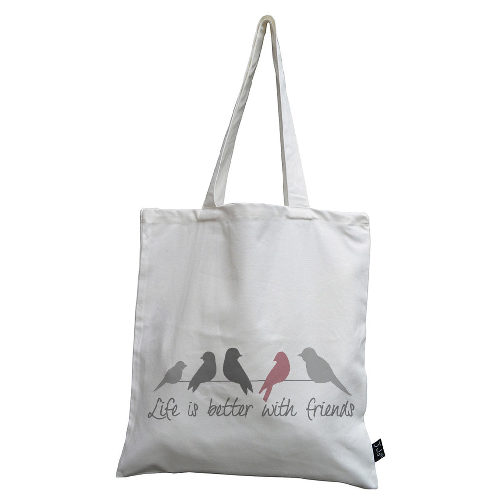 Life is better with friends canvas bag pink
