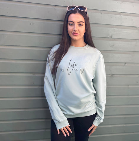 Life is a journey Oversized Cotton Mix Sweatshirt