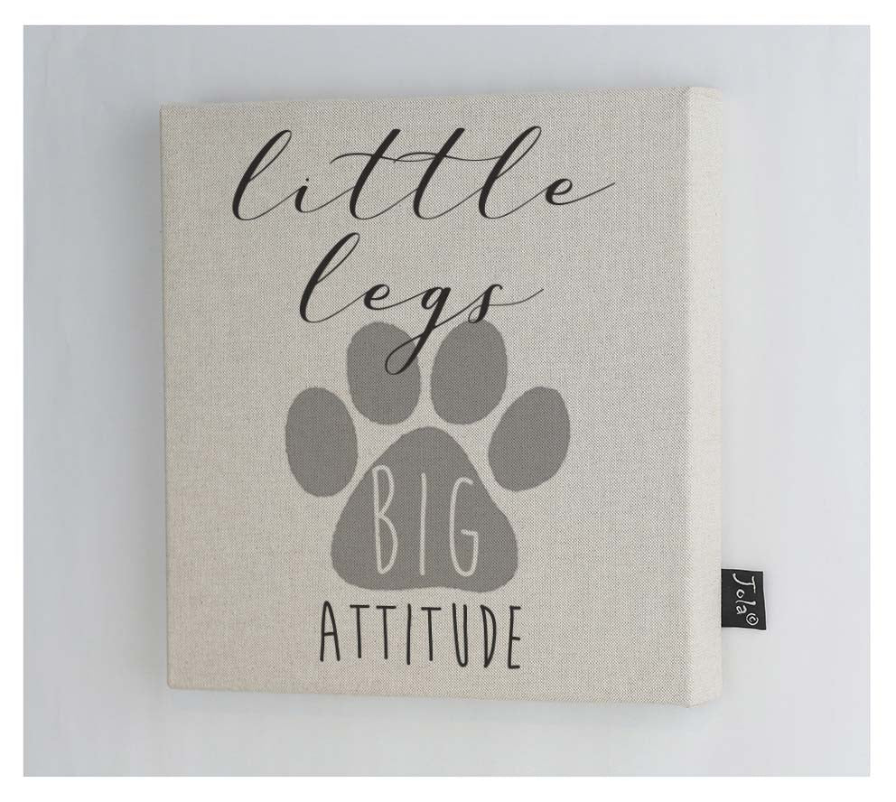 Little legs Big attitude dog canvas frame
