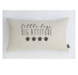 Little legs big attitude paw prints dog cushion