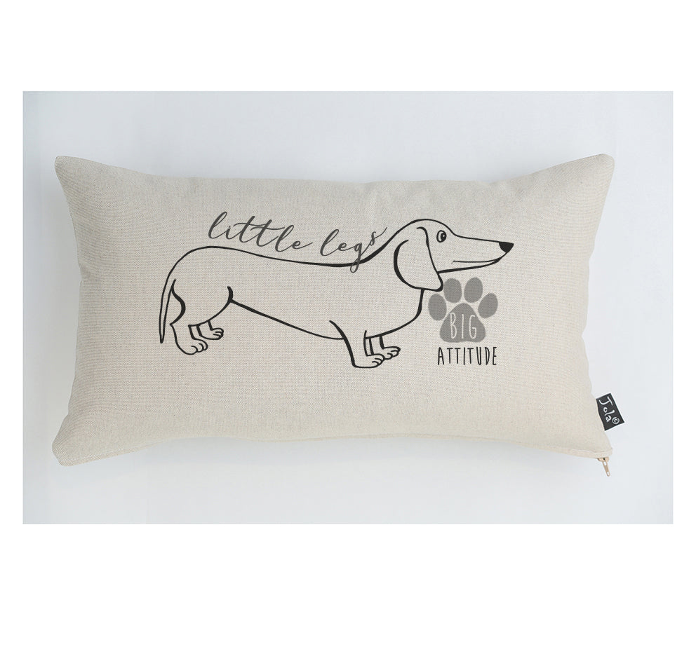 Little legs big attitude dog cushion