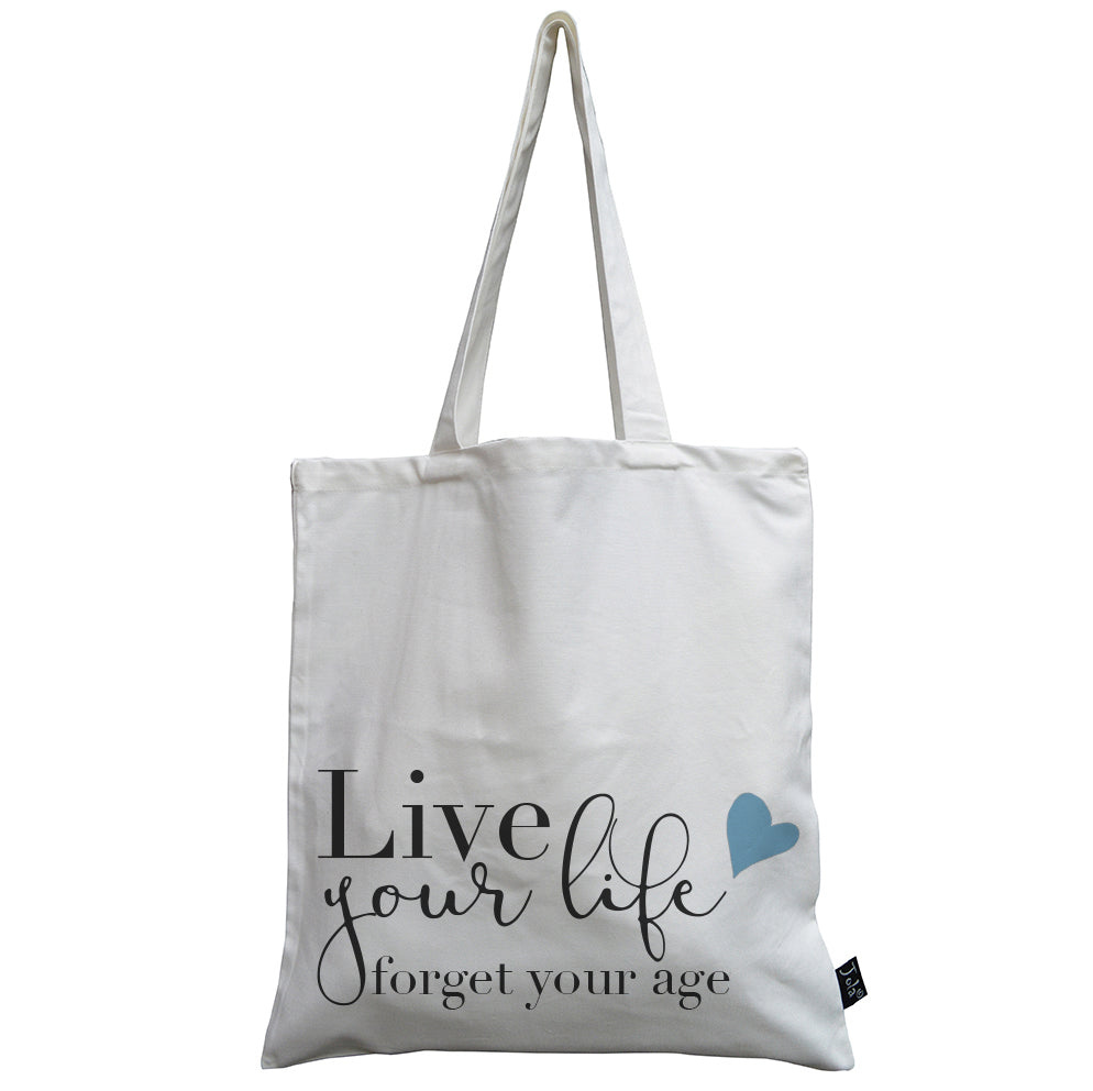 Live your life blue hearts canvas bag