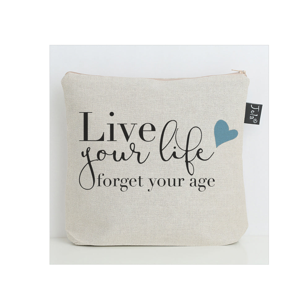 Live your life blue hearts Wash Bag