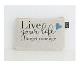 Live your life small make up bag