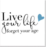 Live your Life blue heart square card