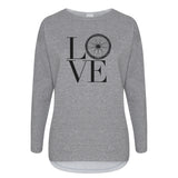 Cotton Slouch Sweatshirt Love Bike Wheel