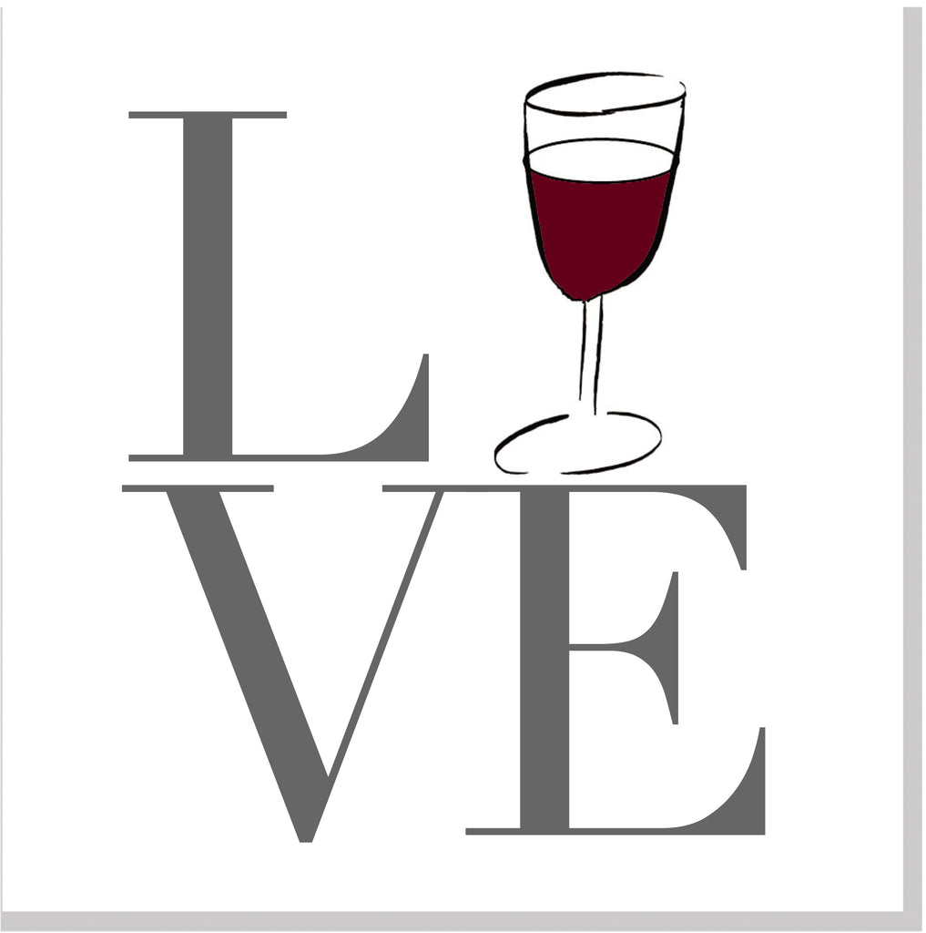 LOVE wine square card