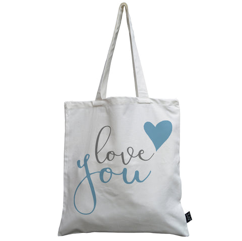 Love you blue canvas bag