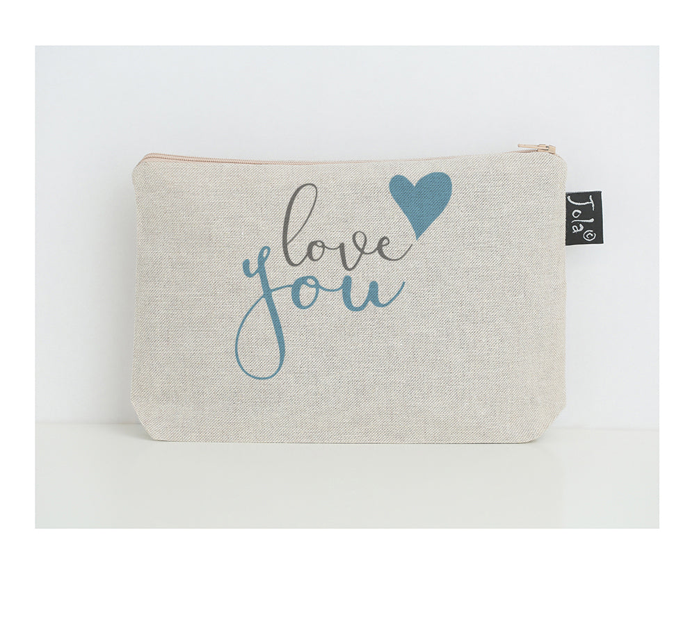Love you blue heart small make up bag