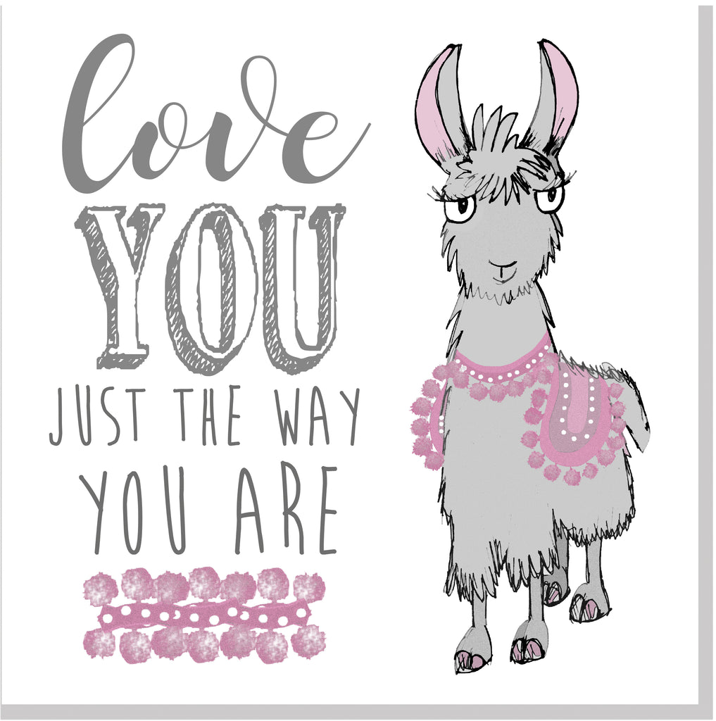Love you just the way you are Llama square card