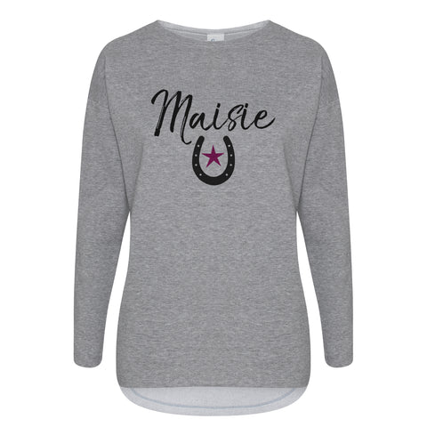 Personalised Cotton Slouch Sweatshirt horseshoe pink star