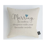 Marriage Sleepover blue heart cushion
