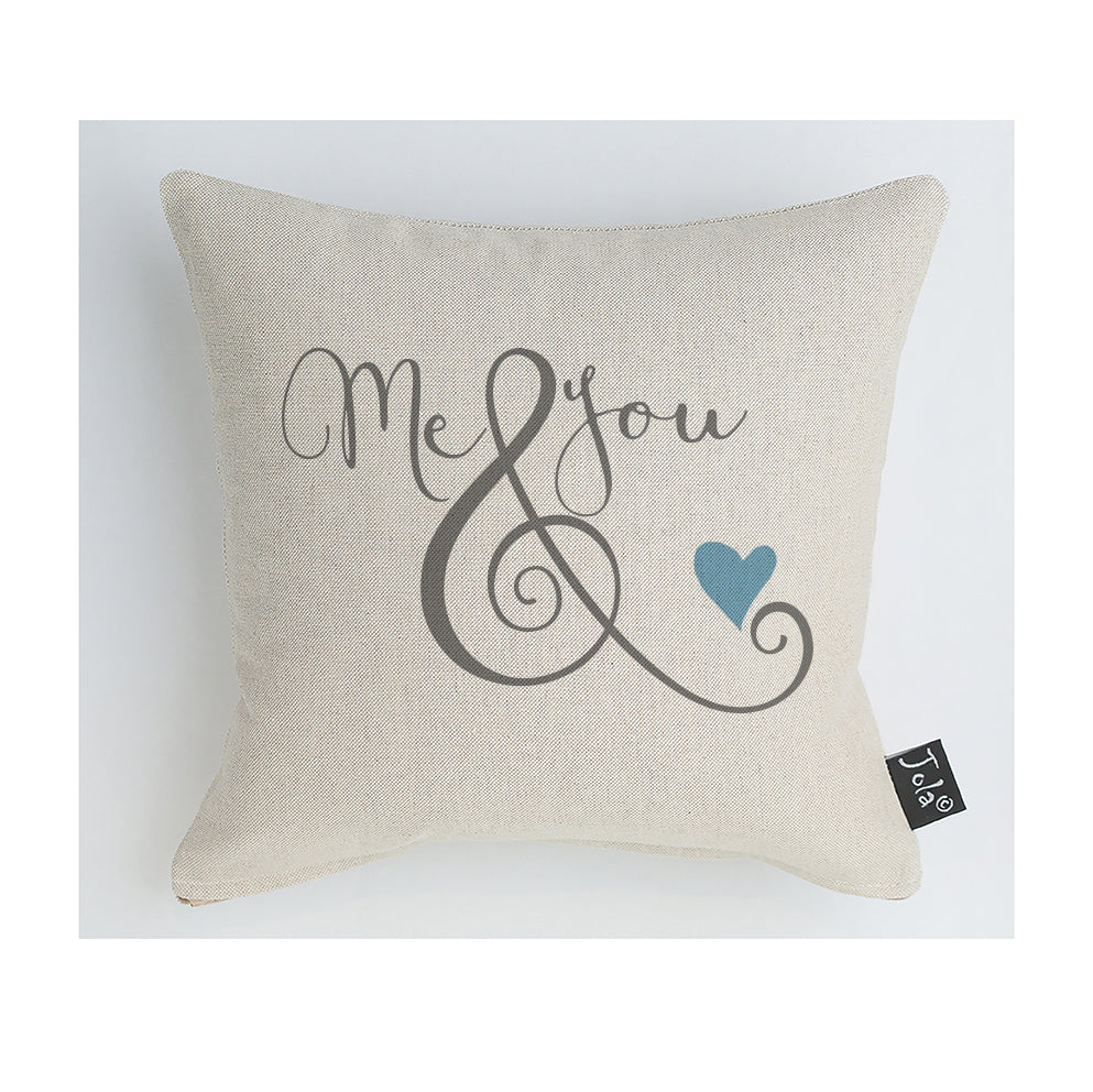 Me & you blue heart cushion