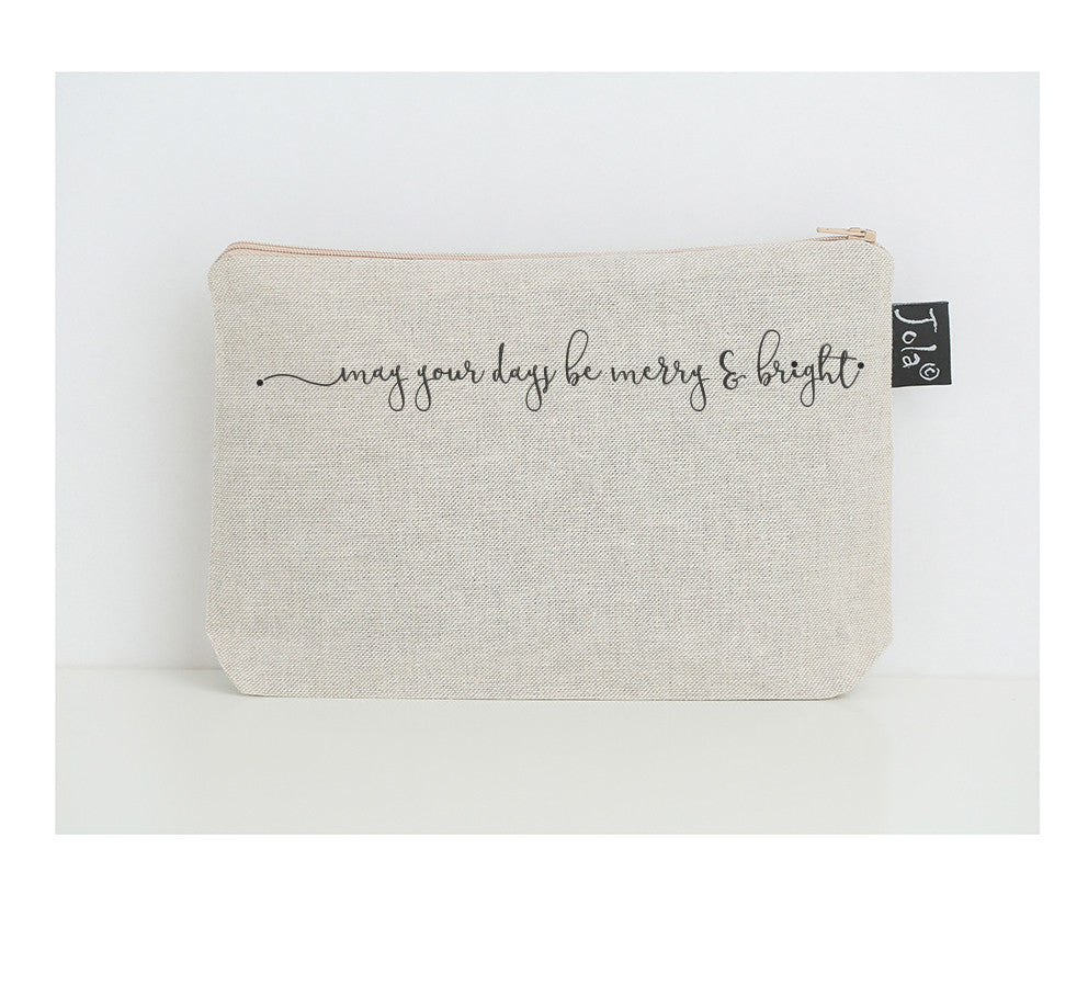 May Your Days be Merry and Bright small make up bag