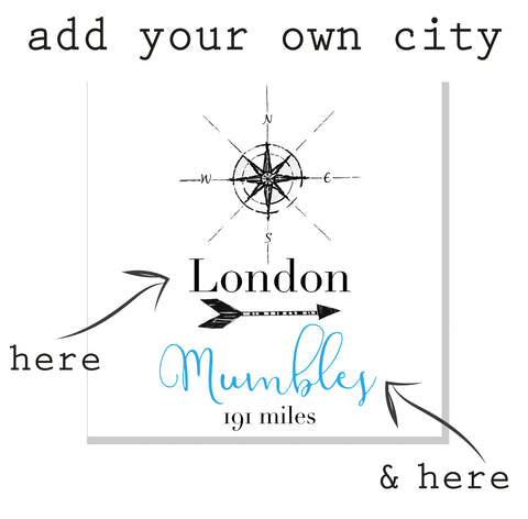 Personalised City Compass & Mileage Card