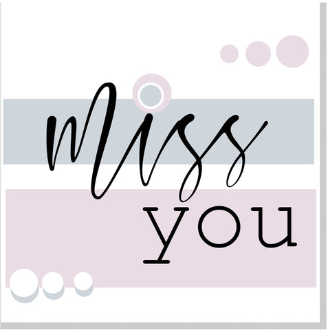 Miss you pastel square card
