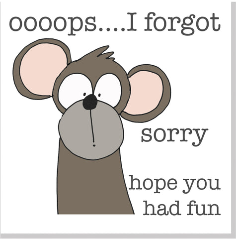 Monkey Sorry square card