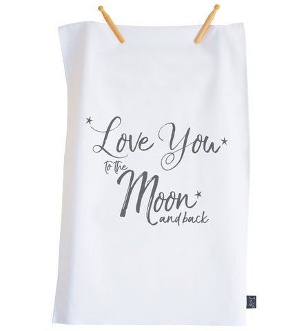 Moon & Back tea towel