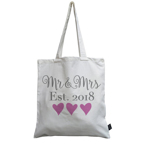 Mr & Mrs Est 2018 wedding hearts canvas bag