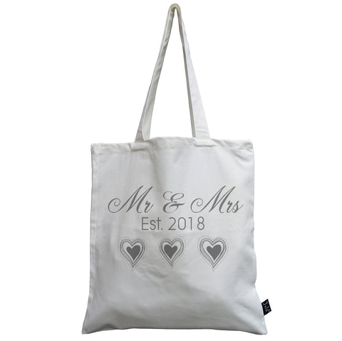 Mr & Mrs grey lined wedding hearts canvas bag
